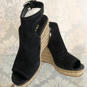 PRADA Black Suede Platform Ankle Strap Espadrille